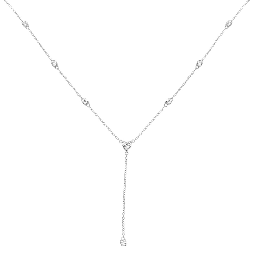 Sterling Silver Diamond Heart Lariat Necklace