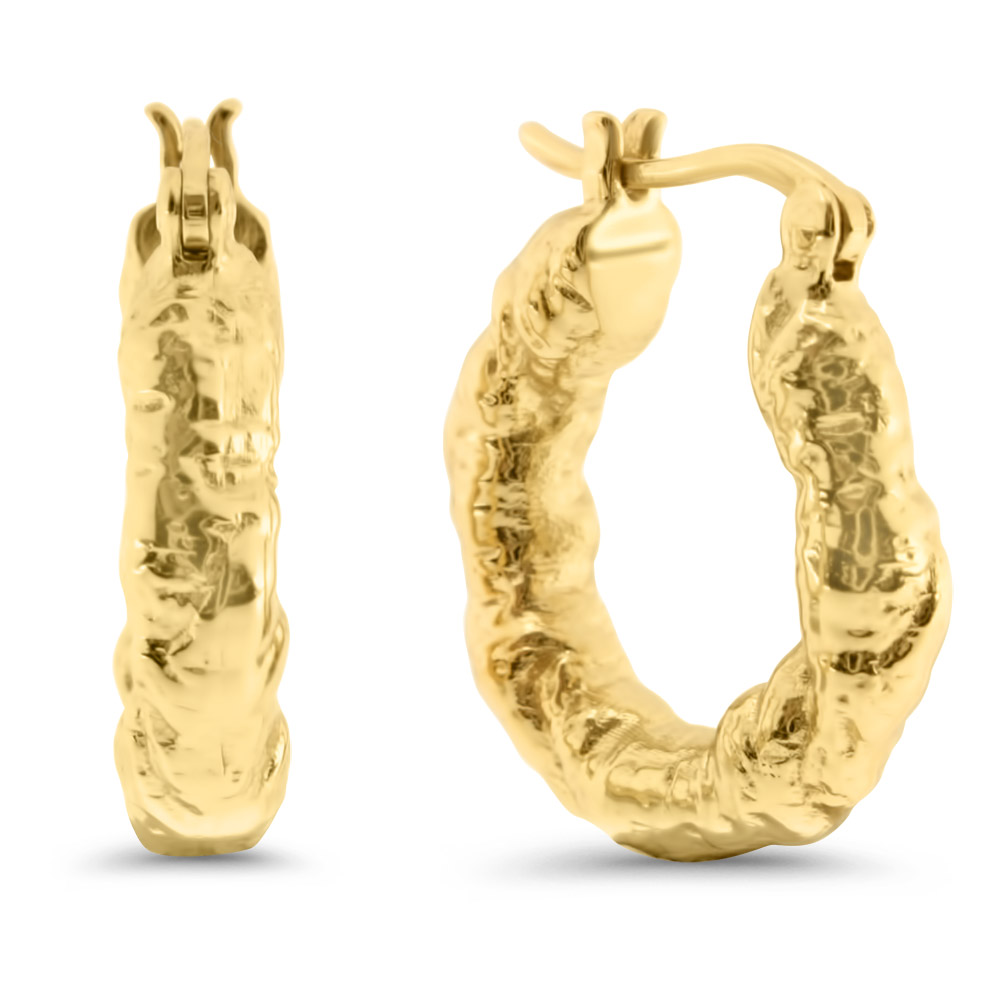 18k Gold Plated Chunky Urban Hoops