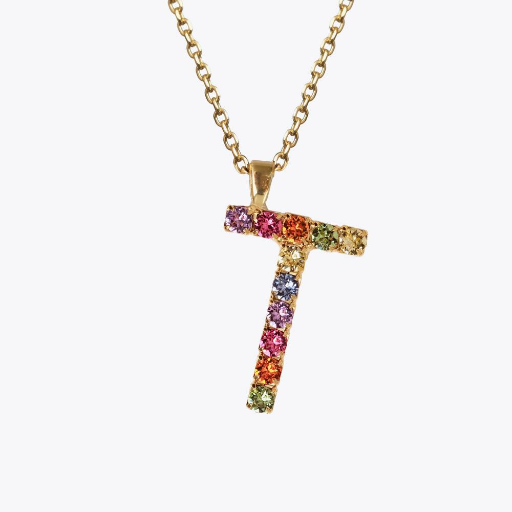 Letter Necklace T / Rainbow Combo